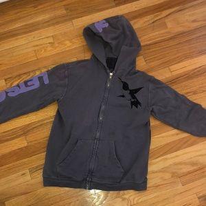 Freecity grey zip up small sweatshirt hoodie